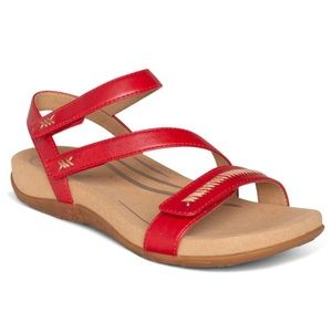 AETREX Gabby Adjustable Red Sandal Size 40